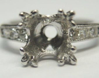 Antique Diamond Platinum Engagement Ring Setting | Will Hold 7MM 1.25CT | ES-176