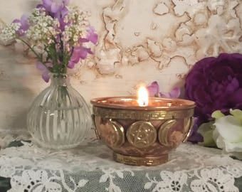 Goddess Offering Bowl, Triple Moon Copper Offering Bowl with Calla Lilly Scented Candle, Altar Candle, Ritual Candle, Goddess Candle