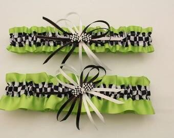 Apple Green Satin Wedding Garter Set with Checkered Flag Deco, Bridal Garter, Prom Garter  (Your Choice, Single or Set)