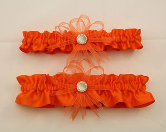 Orange Satin Wedding Garter with Charms, Orange Satin Bridal Garter, Prom Garter   (Your Choice, Single or Set)