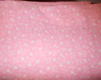 Pink with White Flowers Vintage Thick Flannel Fabric