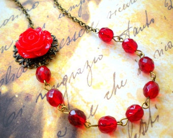 Rose Necklace Flower Necklace Red Necklace Red Rose Necklace Romantic Jewelry Red Bridesmaid Necklace Red Flower Jewelry Red Flower Necklace