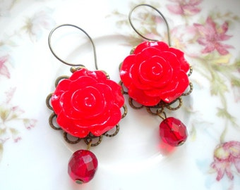 Red Earrings Red Flower Earrings Red Chandelier Earrings Romantic Jewelry Red Rose Earrings Red Jewelry Romantic Earrings Gift For Woman