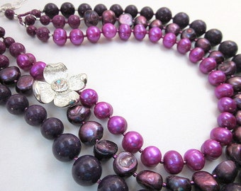 Beaded Purple Pearl Necklace Multi Strand Bright Purple Women's Statement Necklace Flower Charm Jewelry Magenta Large Accessory 3 Strands