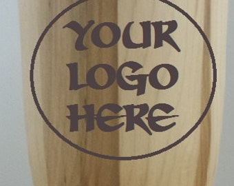 Custom Wood Travel Mug your logo of choice and first name burned in wood shell.