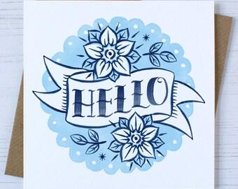 Hello Card | Friendship Card | Tattoo Card | Thinking of You Card | Miss You Card | Traditional Tattoo Card | Tattoo Design | Blank Card