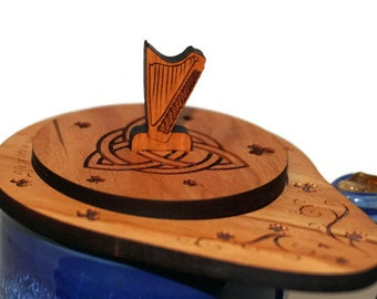 Wood tea organizer, Shamrock tea caddy, Irish kitchen decor, Celtic knot tea infuser, Tea strainer, Loose leaf tea steeper, St Patricks Day
