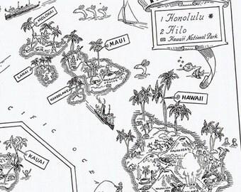 Vintage MAP HAWAII, Perfect for Framing, Adorable, Whimsical, Fun, Funky, Playful, Charming, Oahu, Waikiki, Honolulu, Hilo