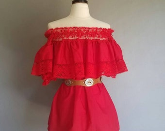 RED Boho Mexican Off the Shoulder Blouse (m)