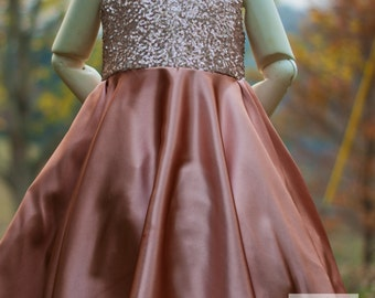Formal Champagne sequin and copper satin  Holiday Chirstmas wedding flower girl dress