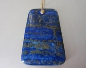 Reserved for Alison --- Lapis Lazuli Trapezoid Drop Solid 14k Gold Necklace