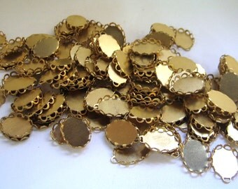 14x10 Lace Edge Flat Back Brass Setting with Top Loop Quantity 120