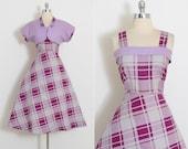 Vintage 50s Dress | 1950s dress and bolero | purple gray lilac cotton | l/xl | 5903