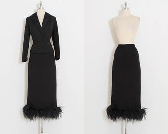 Vintage 60s Suit | vintage 1960s dress | feather trim skirt jacket | black wool | small | 5778