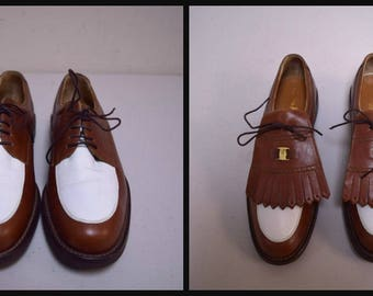 SALVATORE FERRAGAMO Sport Brown White Leather Golf Shoes Kilts Size 7 1/2 AA/N
