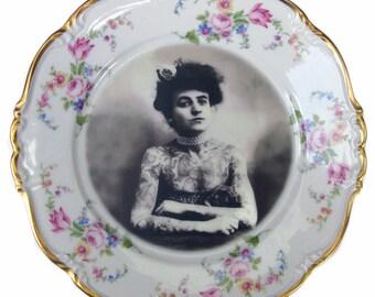 "The Tattooed Lady Portrait Plate 7.75"""