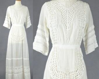 Edwardian Tea Dress, 1910s White Edwardian Lawn Dress, Antique Embroidered Cotton Lace Dress, Downton Abbey, XS