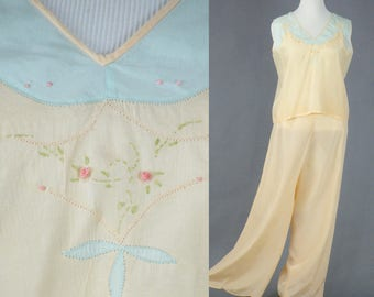 1930s Lounging Pajamas, 30s Lingerie, Vintage 1930s Loungewear, L - XL