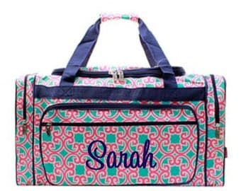 Personalized duffle and cosmetic bag set monogrammed