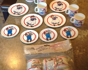 Vintage Raggedy Ann Andy Doll Tea Set Plates Cups Teapot Some New in Package 20 Piece Set