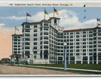 Edgewater Beach Hotel Sheridan Road Chicago Illinois 1922 postcard