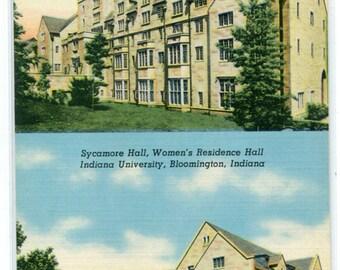 Beech & Sycamore Hall Indiana University Bloomington IN linen postcard