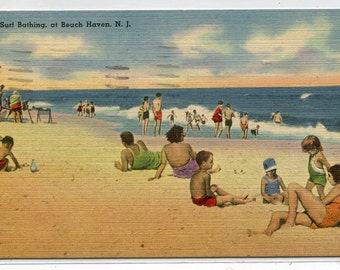 Surf Bathing Beach Scene Beach Haven New Jersey 1948 linen postcard
