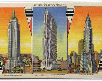 Skyscrapers of New York City Empire State Rockefeller Center Chrysler Building NY linen postcard