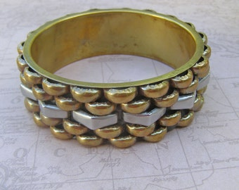 Big Bold Vintage Bangle Bracelet, Brass Two Tone Industrial Rocker Bracelet, Mixed Metal Big Bold Chunky Jewelry