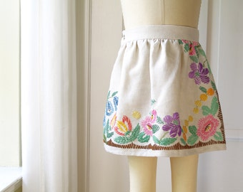 Girls S (3T) VintageTablecloth Skirt- Hand Embroidererd Floral- Kids Ecofriendly Fashion