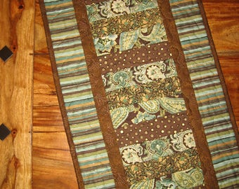 "Quilted Table Runner, Contemporary Aqua Brown Paisley Stripes, 14 x 60"" 100% Cotton fabrics Reversible Handmade Free Shipping"