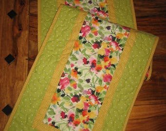 "Spring Summer Floral Quilted Table Runner, Watercolor Garden, 13 x 47"" 100% Cotton fabrics Reversible Handmade Free Shipping"