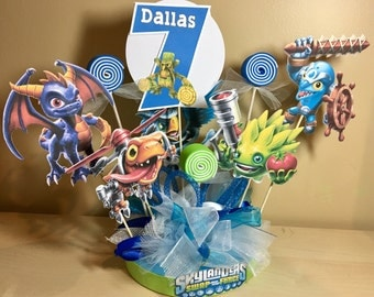 Skylanders Personalized Banner/ cake topper/ paper straws/ cupcake toppers/ center piece/ welcome sign/ and more.