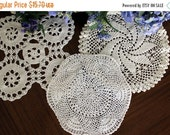 ON SALE 3 Assorted Crochet Doilies, Vintage Knit Doily, Whites and Off White Lot 13409