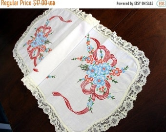 White Linen Runner -  Embroidered Table Scarf with Cream Lace Edging 12061
