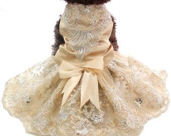 Pet Dog Tutu Lace Pearl Flower Dress Wedding Gown Princess Party Costume