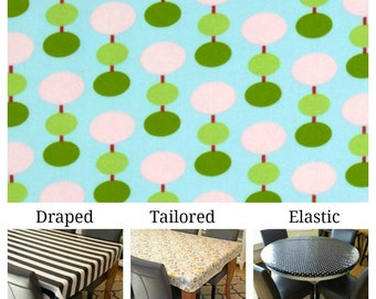 Laminated cotton aka oilcloth tablecloth custom size and fit choose elastic, tailored or draped, Tanya Whelan Lantern Hill blue