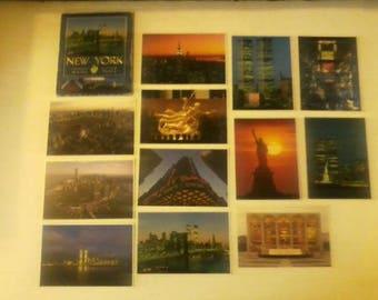 Superb Vintage Set Of TWELVE Color Laser Print Postcards of New York City 1985!