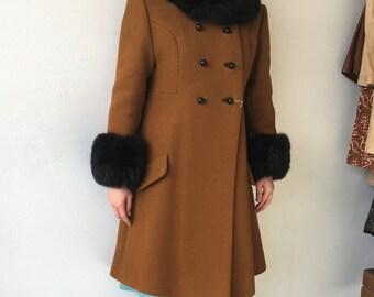 60s Mod Coat Brown Faux Fur Cuffs Collar 1960s Vintage S XS
