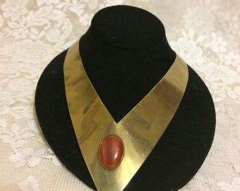 Beautiful Brass Choker Necklace With Amber