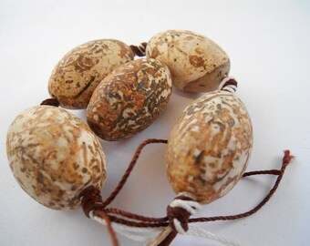 Gemstone bead, Oval Matte Finished, Etched Agates, Batik Beads, Cream Brown African Agate Bead  28x18mm per piece