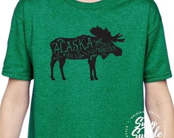 Kids Alaska Moose Shirt, Alaska Shirt for Girls, Alaska Moose T-shirt for Boys