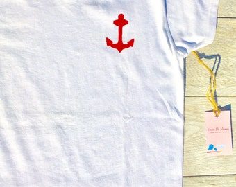 Womens - Nautical - T-Shirt - Shirt - Anchor - Red and Navy Blue