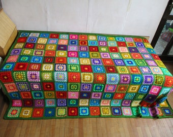 Big granny square afghan blanket, green, warm, wrap, colorful, handmade, retro, crochet, patchwork, bed cover, cozy