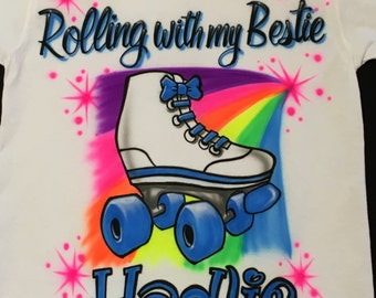 Summer Sale Rolling with My Bestie Roller Skate Best Friend Birthday T-Shirt w/ Name size S M L XL 2XL Airbrush T Shirt
