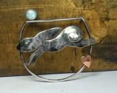 Moongazing Hare Brooch, Hare Brooch. Animal Brooch, Animal Jewellery,Moonstone Brooch, Rabbit Brooch, Bunny Brooch, UK Etsy Seller