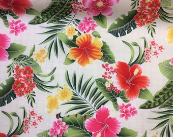 Beautiful Hawaiian Print Cotton  Fabric Printed in Japan (Yardage Available)