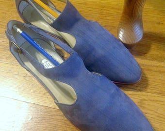 Vintage Women's Dress Blue Suede Shoes Nicole Tango Retro 1940s Flat Heel Ankle Strap Size 7-1/2
