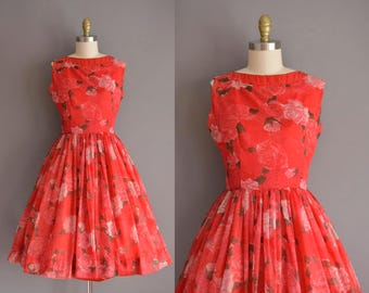 vintage 1950s dress. 50s RED ROSE chiffon full skirt dress. 50s Jerry Gilden dress