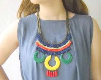 Oversize Statement Necklace Colorful Big Boho necklace bold fan necklace Bohemian jewelry Unique gift for her